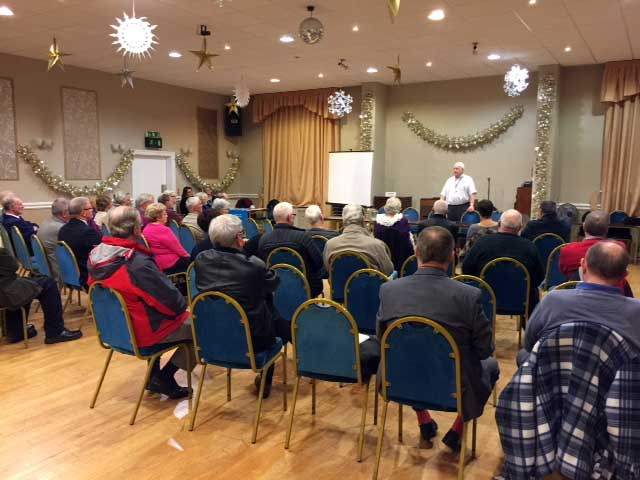 Discussion at Cunliffe Hall around Christmas