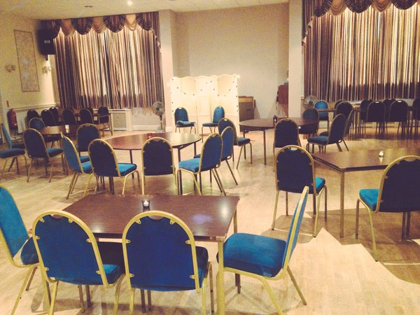 Chairs and tables set out for intimate event at Chorley\'s Cunliffe Hall